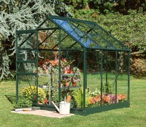 Halls Popular Greenhouse with Powder Coated Green Frame