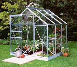 Halls Popular Greenhouse with Silver Aluminium Frame