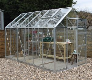Large Elite High Eave Greenhouse in Silver