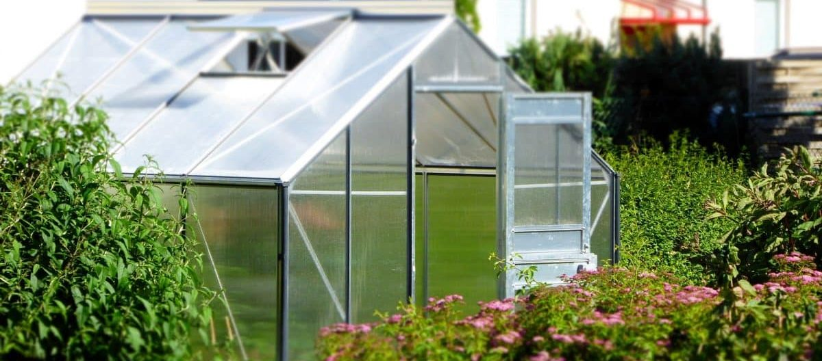 A greenhouse within a garden setting.