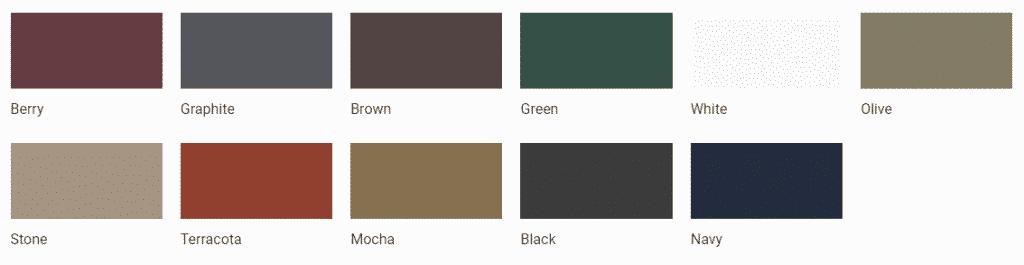 Elite Greenhouse Powder Coating Colours 2019